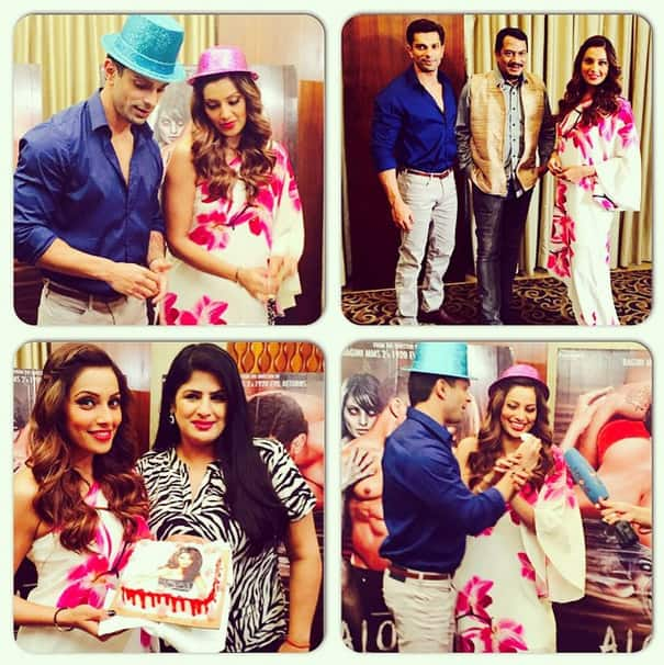bipashabasu :- Cake cutting Birthday celebrations during #Alone promotions! Thank you to all the tv reporters for all the love! - Instagram