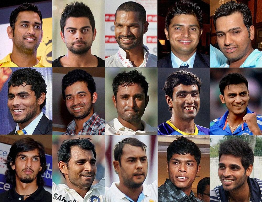 COMBO - The 15 member Indian Squad for the forthcoming Cricket World Cup 2015- (from left to right in top row)- Mahendra Singh Dhoni (Captain), Virat Kohli, Shikhar Dhawan, Suresh Raina and Rohit Sharma; Ravindra Jadeja, Ajinkya Rahane, Ambati Rayudu, R Ashwin and Akshar Patel; Ishant Sharma, Mohd Sami, Stuart Binny, Umesh Yadav and Bhuvneshwar Kumar.