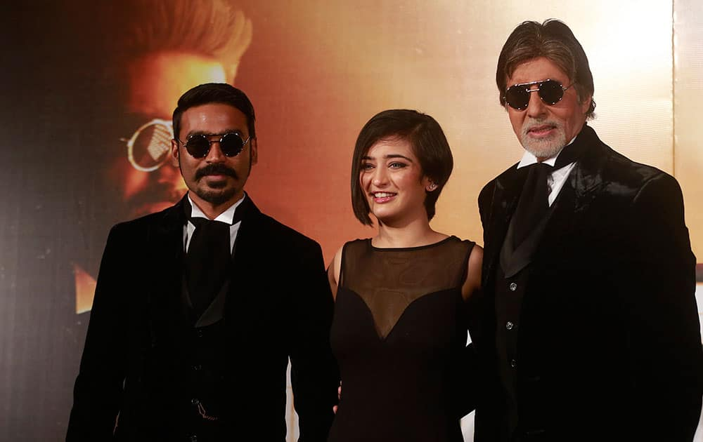 Bollywood actors Amitabh Bachchan, Akshara Haasan and Dhanush attend the trailer launch of their upcoming film