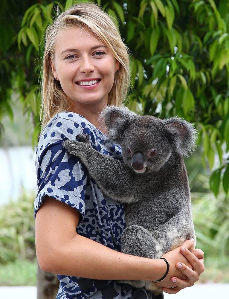 Maria Sharapova of Russia gets up close with Sinnamon, a koala from Lone Pine Koala Sanctuary, in Brisbane, Australia.