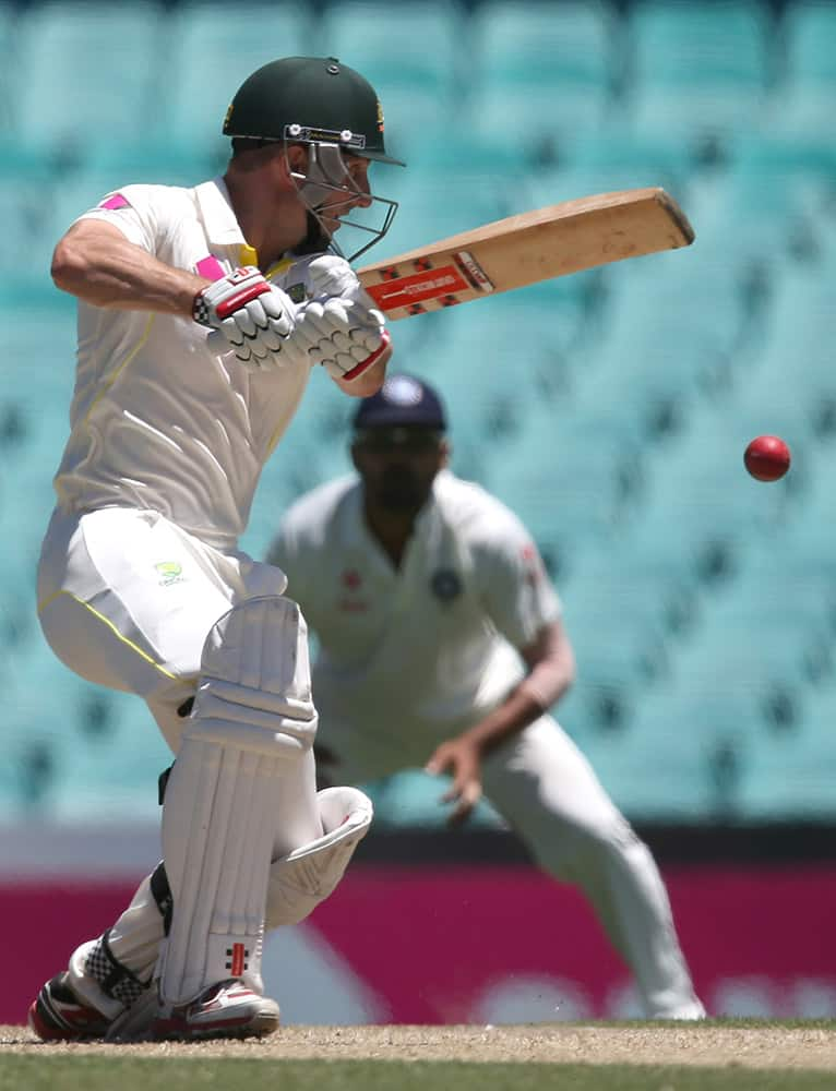 Australia's Shaun Marsh plays a shot against India on the second day of their cricket test match in Sydney.