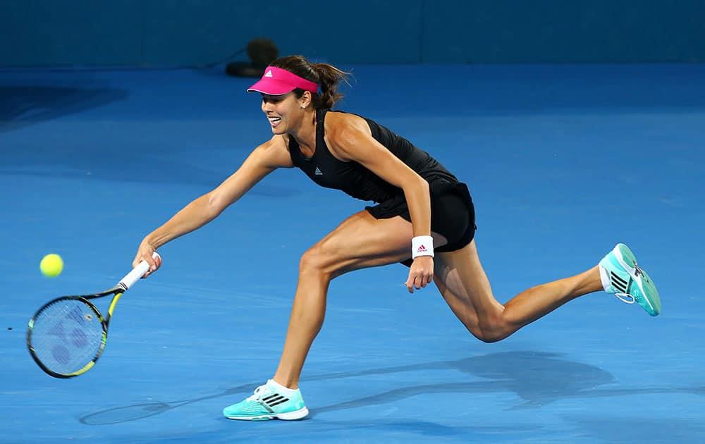 Ana Ivanovic of Serbia plays a shot in her match against Jarmila Gajdosova of Australia during the Brisbane International tennis tournament held in Brisbane, Australia.
