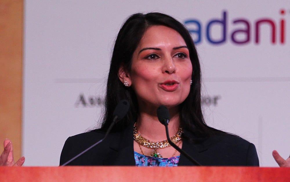 UK India Diaspora Champion Priti Patel speaks during the inauguration of Youth Pravasi Bharatiya Divas in Gandhinagar.