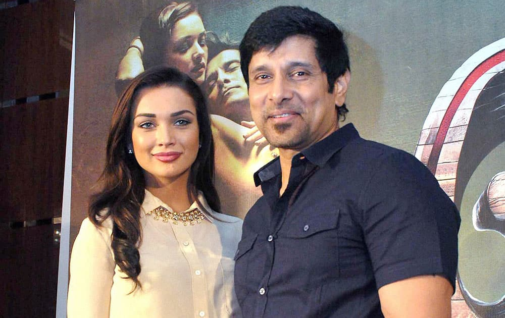 British actress Amy Jackson and actor Vikram at a promotional program in Kochi.