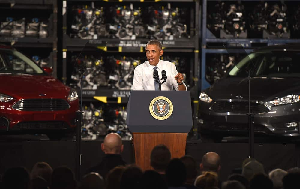 President Obama speaks about American Manufacturing at Ford's Michigan Assembly Plant in Wayne.