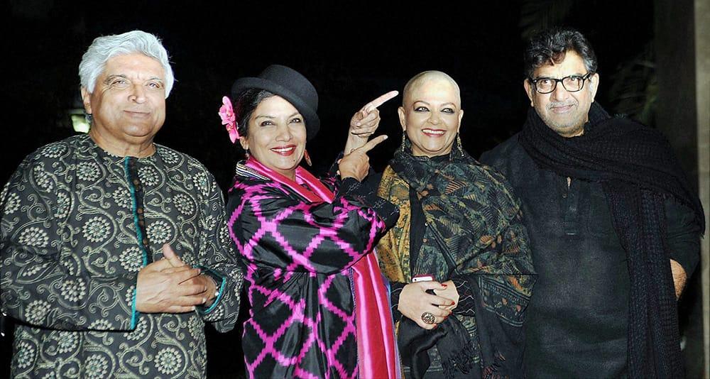 Bollywood lyricist Javed Akhtar, actor Shabana Azmi, Tanvi Azmi and her husband and cinematographer Baba Azmi during Farah Khans 50th birthday celebration in Mumbai.
