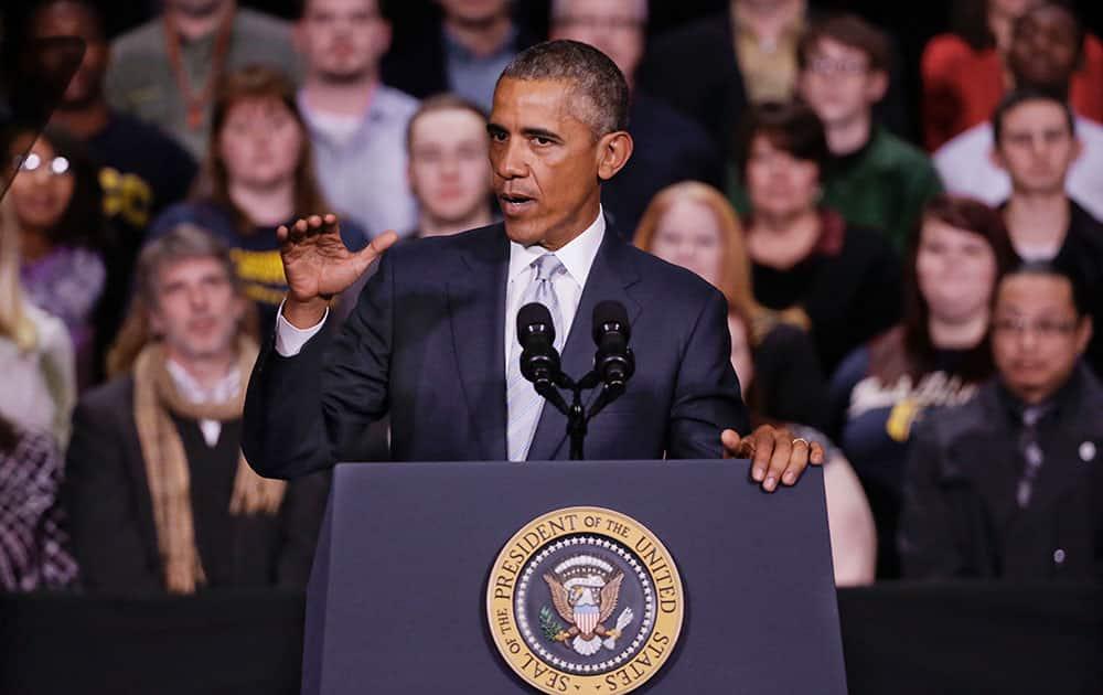 President Barack Obama speaks at Pellissippi State Community College.