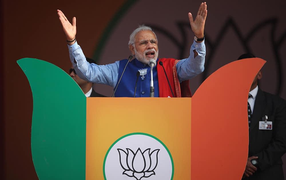 Prime Minister Narendra Modi addresses a public rally in New Delhi.