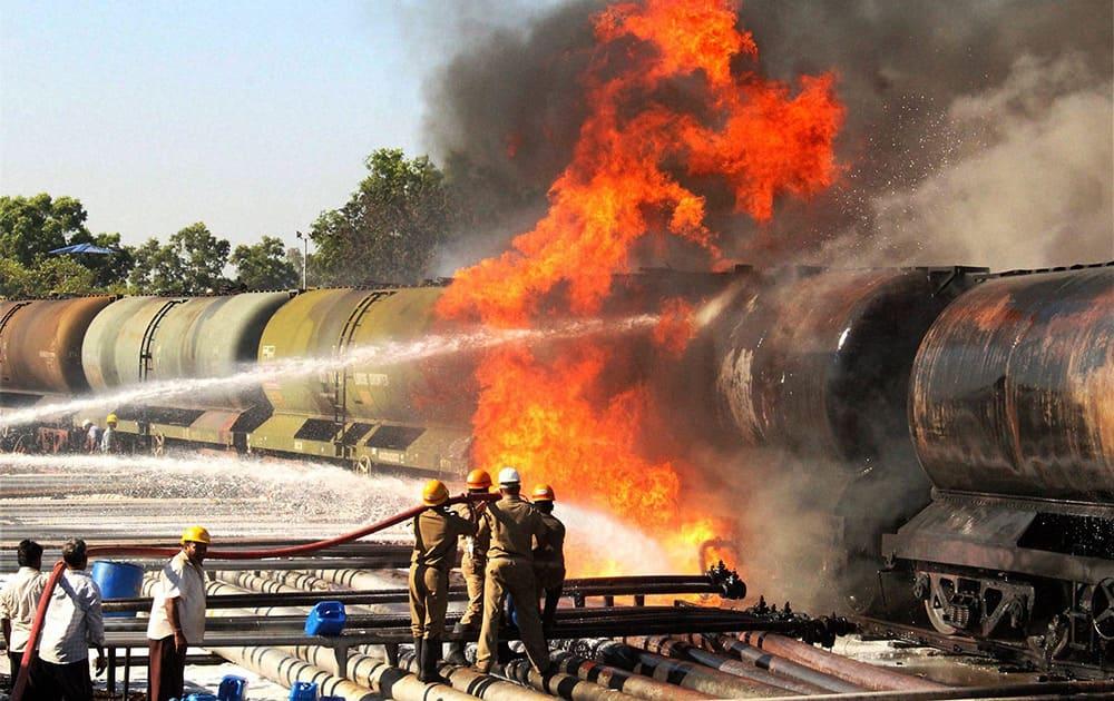 Blaze erupts after an oil tanker caught fire at the Bharat Petroleum oil depot in Belgaum, Karnataka.