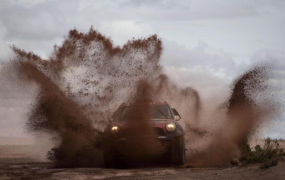 Mini driver Orlando Terranova and co-pilot Bernardo Graue, both of Argentina, races to win the seventh stage of the Dakar Rally 2015 between Iquique, Chile, and Uyuni, Bolivia.