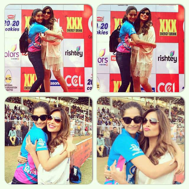 Bipasha Basu :- RT @bipsluvurself: With the adorable and loving @sonamakapoor at #CCL today! Warm tight hugs -twitter