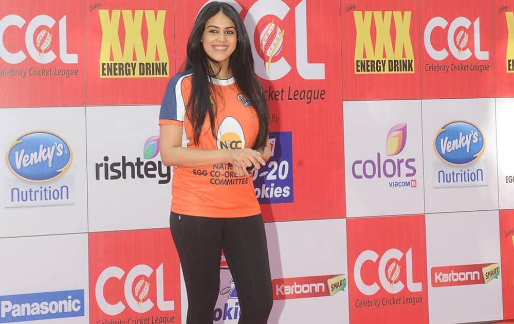 Genelia Dsouza during the red carpet of Celebrity Cricket League at Brabourne Stadium in Mumbai. -dna