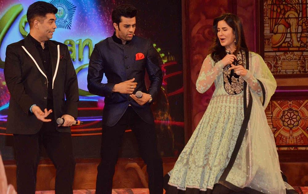 Karan Johar, Manish Paul and Katrina Kaif during the Umang Mumbai Police Show 2015 in Mumbai. -dna