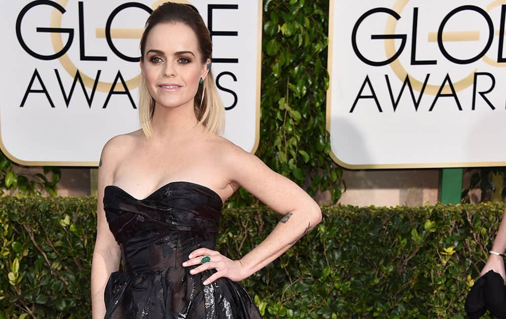 Taryn Manning arrives at the 72nd annual Golden Globe Awards.