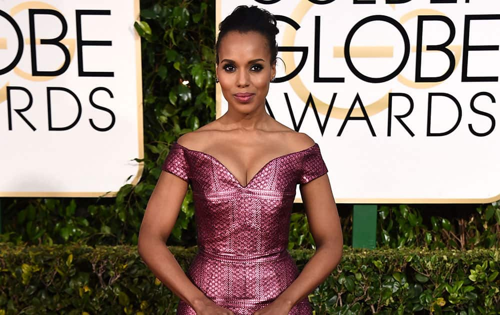 Kerry Washington arrives at the 72nd annual Golden Globe Awards.