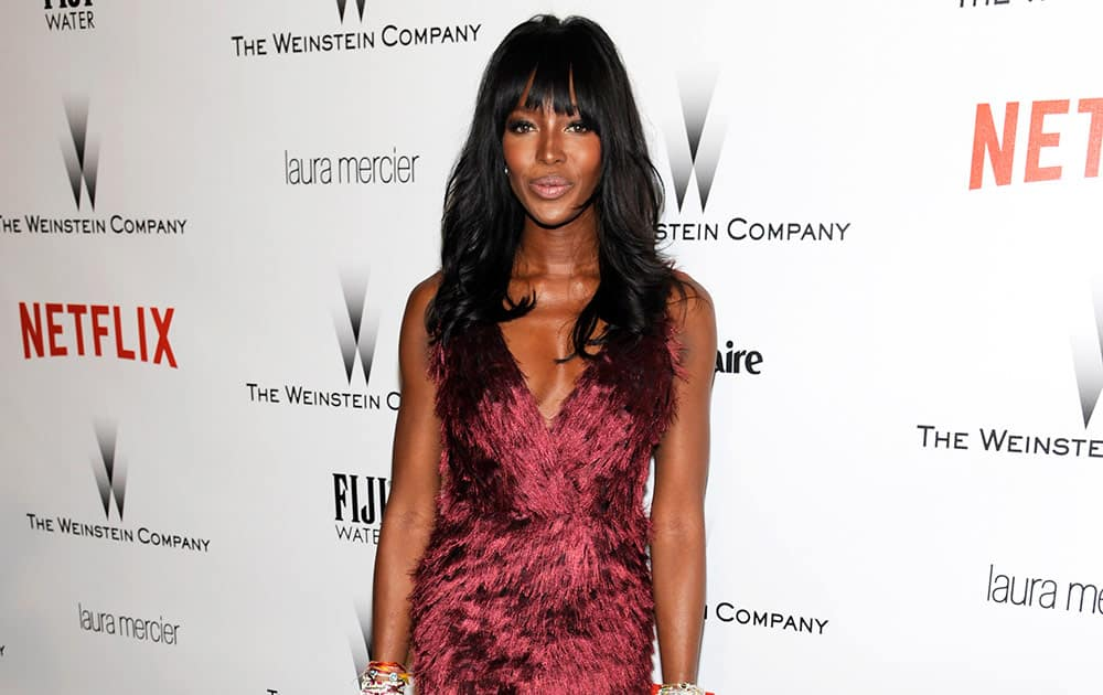 Naomi Campbell arrives at The Weinstein Company and Netflix Golden Globes afterparty at the Beverly Hilton Hotel.