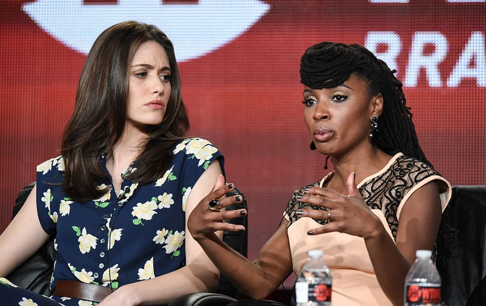Emmy Rossum, left, and Shanola Hampton speak during the