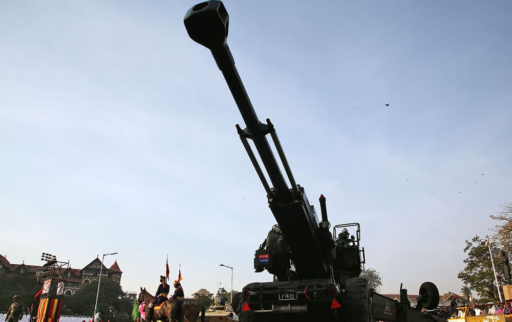 A bofor gun is on display ahead of the Army Day in Mumbai, India. The Army Day is celebrated on Jan. 15 every year in India.