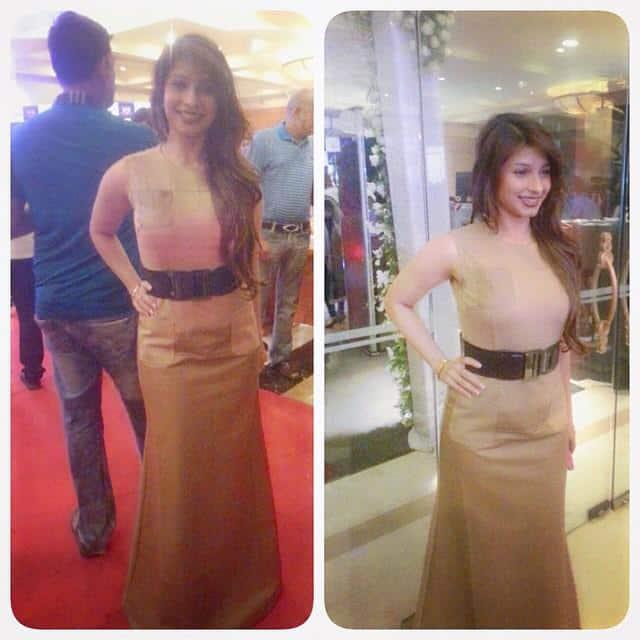 Tanishaa Mukerji stuns in dark beige leather gown at #HeraPheri3. -twitter