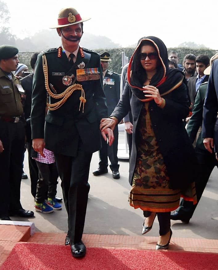 Army Chief General Dalbir Singh Suhag with his wife Namita Suhag during the Army Day parade in New Delhi.