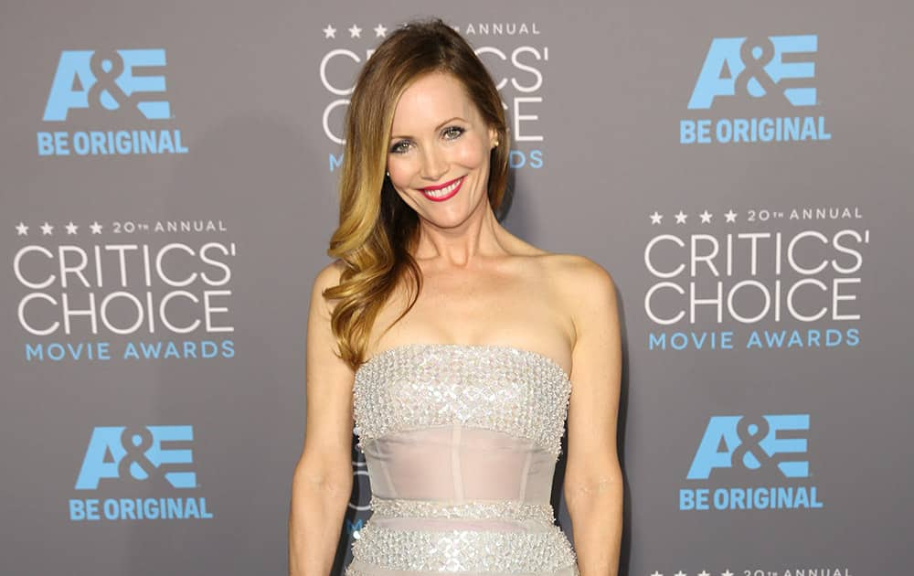 Leslie Mann arrives at the 20th annual Critics' Choice Movie Awards at the Hollywood Palladium, in Los Angeles.