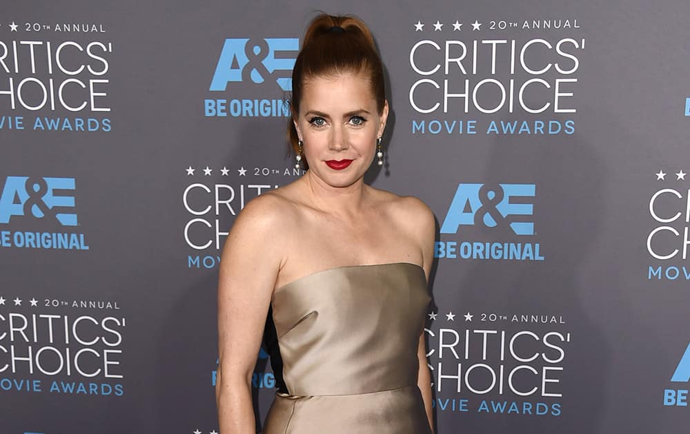 Amy Adams arrives at the 20th annual Critics' Choice Movie Awards at the Hollywood Palladium, in Los Angeles.
