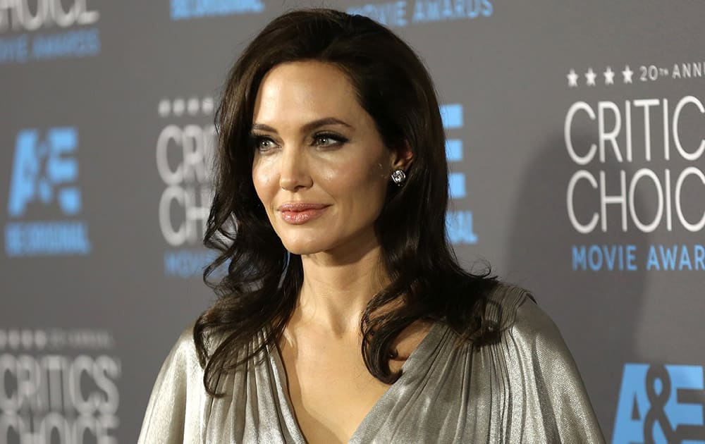 Angelina Jolie arrives at the 20th annual Critics' Choice Movie Awards at the Hollywood Palladium, in Los Angeles.