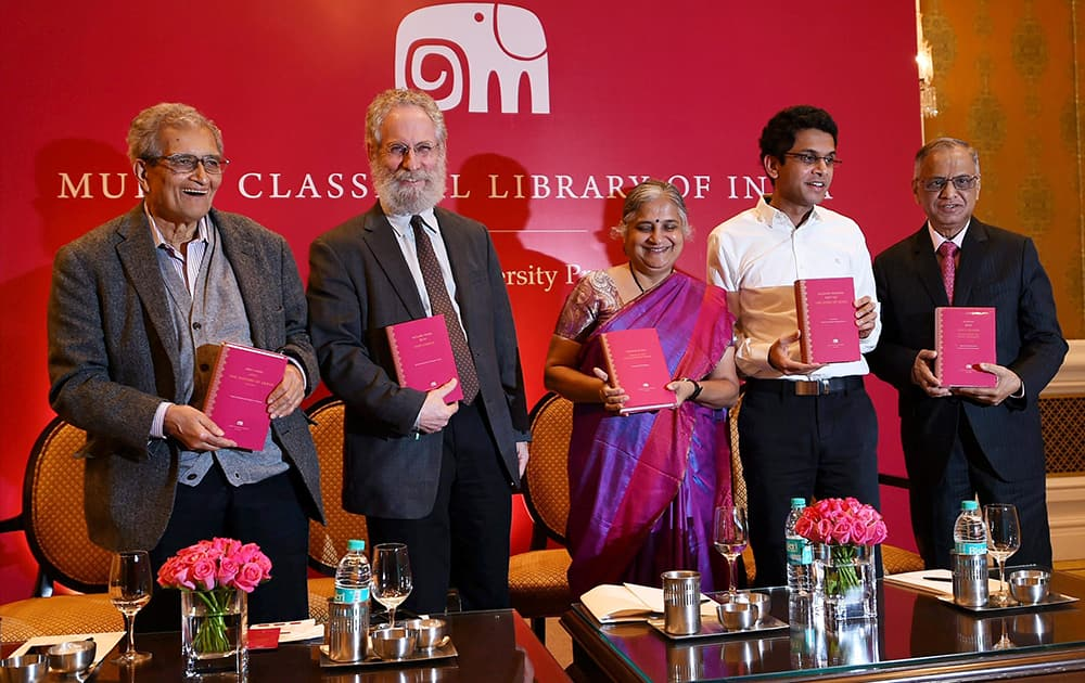 Nobel Laureate Professor Amartya Sen unveiling first five books the series of The Murty Classical Library of India.