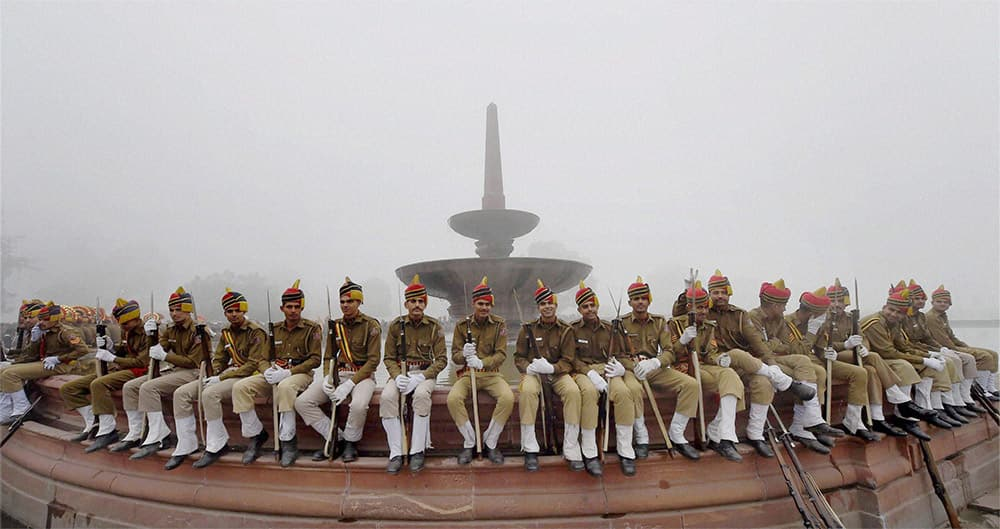 Delhi Police before the rehearsal for the Republic Day parade at Rajpath in New Delhi.