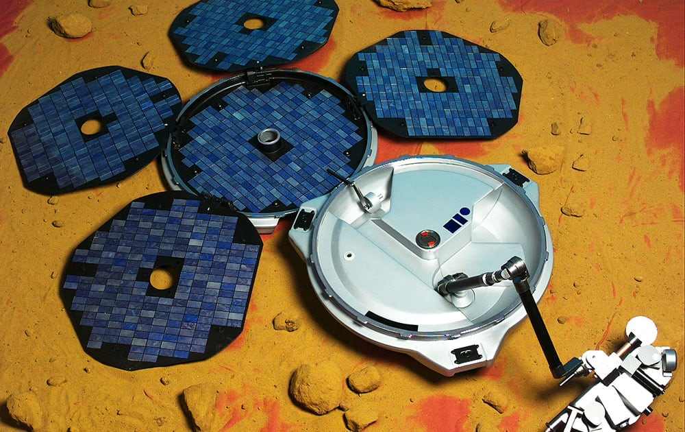This artist's rendering provided by the European Space Agency shows the Beagle-2 lander. The spacecraft went missing on Christmas Day, 2003, when it was supposed to land on Mars and start transmitting data back to Earth.