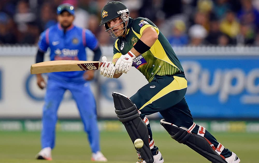 Australia's Aaron Finch bats against India during their One Day International cricket match in Melbourne, Australia, Sunday.