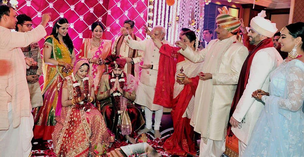 Prime Minister Narendra Modi at the wedding of Kussh Sinha, son of Bharatiya Janata Party (BJP) MP Shatrughan Sinha in Mumbai.