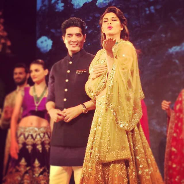 Jacqueline Fernandez :- Back on the ramp with my #bollywood #crush #manishmalhotra thanks for my first show for the year!! #showstopper #hyderabad @shaanmu you're fired!! -instagram