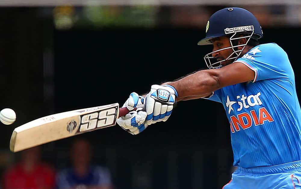 India's Ambati Rayudu drives the ball against England during their one day International cricket match in Brisbane.