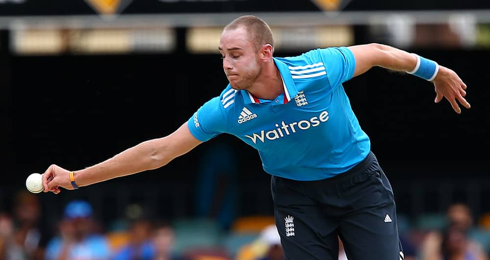 England's Stuart Broad attempts to field off his own bowling to India's Ambati Rayudu during their one day International cricket match in Brisbane, Australia.