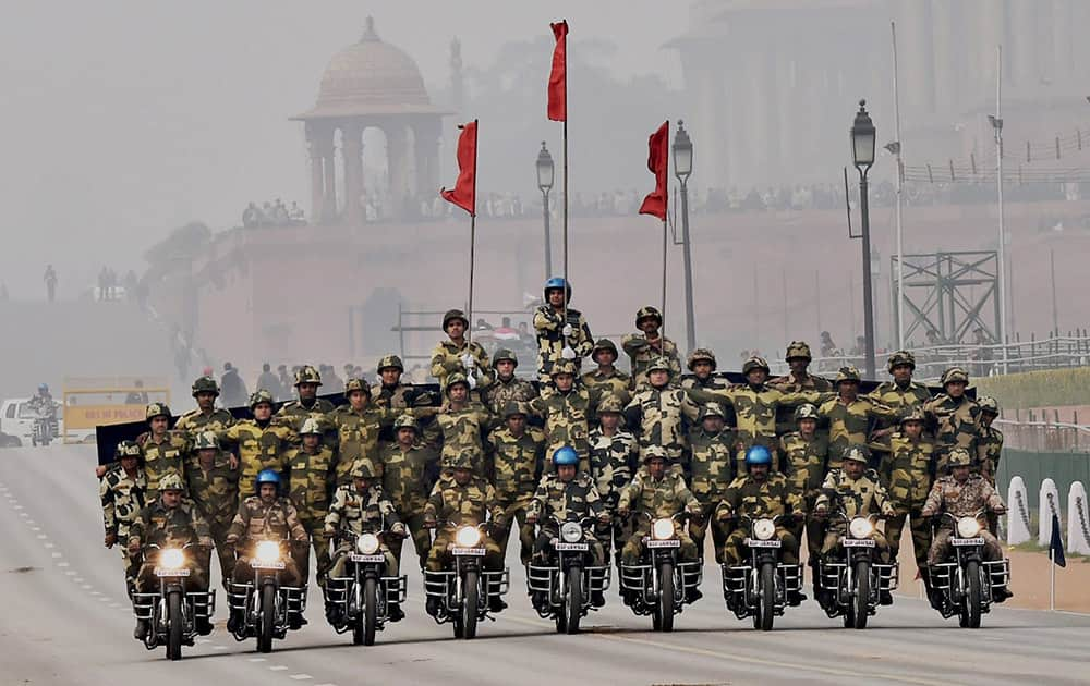 BSF daredevils during the rehearsal for the Republic Day parade at Rajpath in New Delhi.