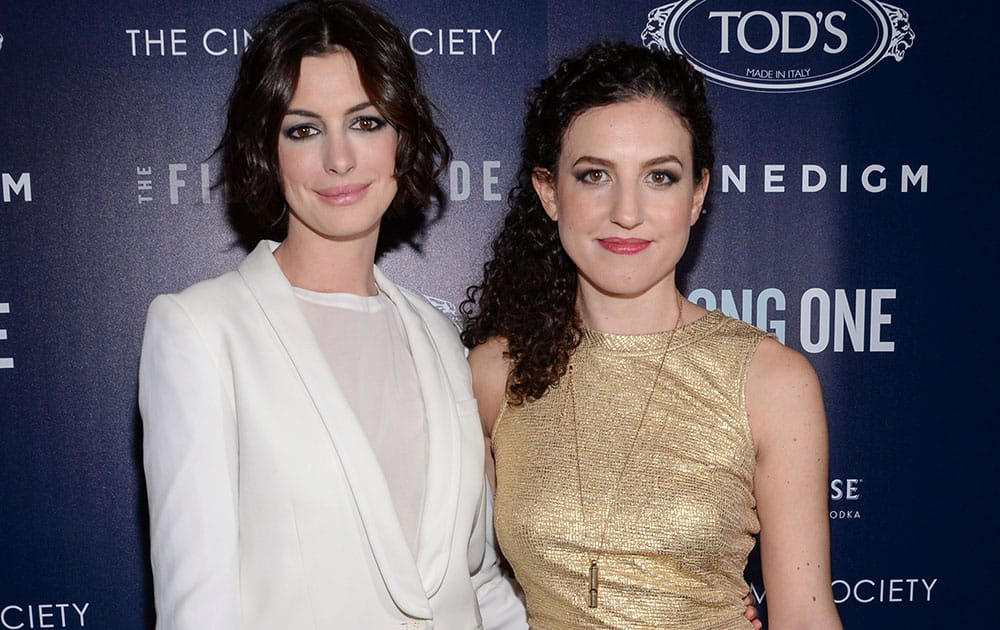 Actress Anne Hathaway and director Kate Barker-Froyland attend the premiere of