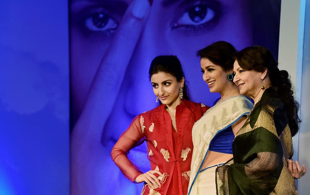 Vetran actress Sharmila Tagore along with daughter Soha Ali Khan and Tisca Chopra pose for media during a scholarship programme in Mumbai.