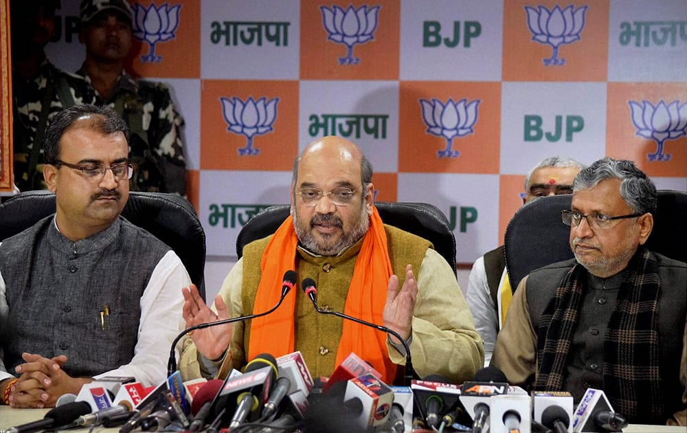 BJP president Amit Shah address to press conference in Patna.