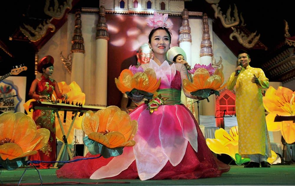 Artists from Vietnam performing during the 15th Buddha Mahotsav in Bodhgaya.