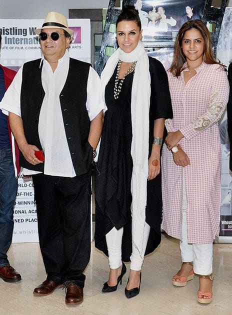 Bollywood director Subhash Ghai, Neha Dhupia and daughter Meghna Ghai during the Future of Fashion Forum hosted by Whistling Woods Neeta Lulla School of Fashion.