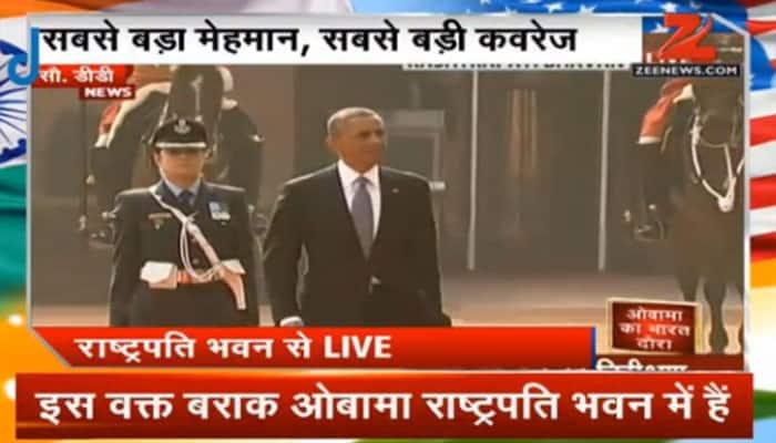 President Barack Obama accorded ceremonial reception at Rashtrapati Bhavan