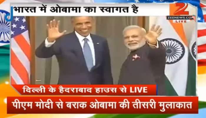 President Barack Obama at Hyderabad House for bilateral talks