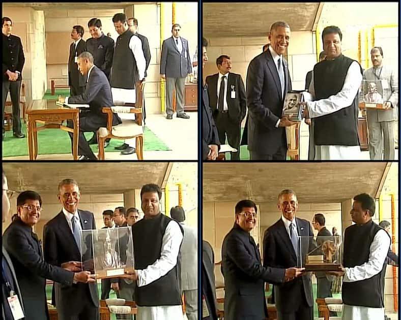 ANI news :- Delhi: US President Barack Obama presented with souvenirs at Rajghat #ObamaInIndia -twitter