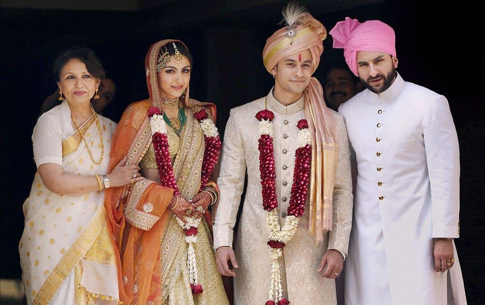 Newly-wed couple Soha Ali Khan and Kunal Khemu along with family members Sharmila Tagore and Saif Ali Khan in Mumbai.