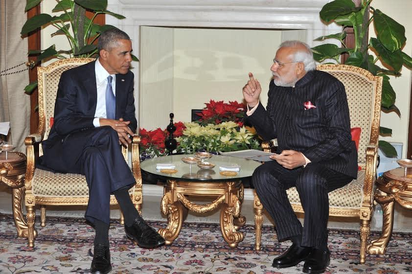 PIB India :- PM narendramodi with US President,  @BarackObama at Hyderabad House -twitter