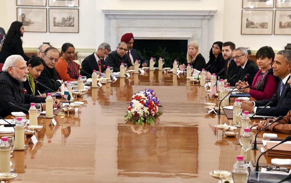Prime Minister Narendra Modi and US President Barack Obama during delegation level talks at Hyderabad House in New Delhi on Sunday.