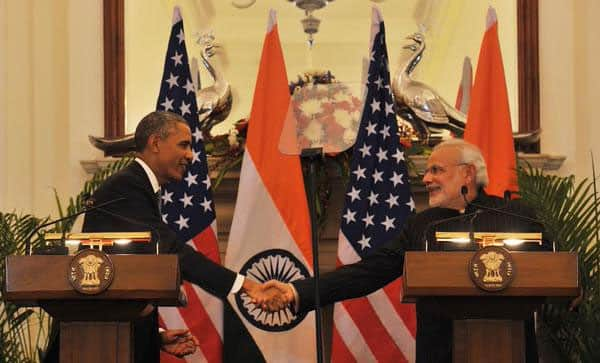 PM narendra modi with US President Barack Obama, during Joint Press Interaction at Hyderabad House. - TWITTER