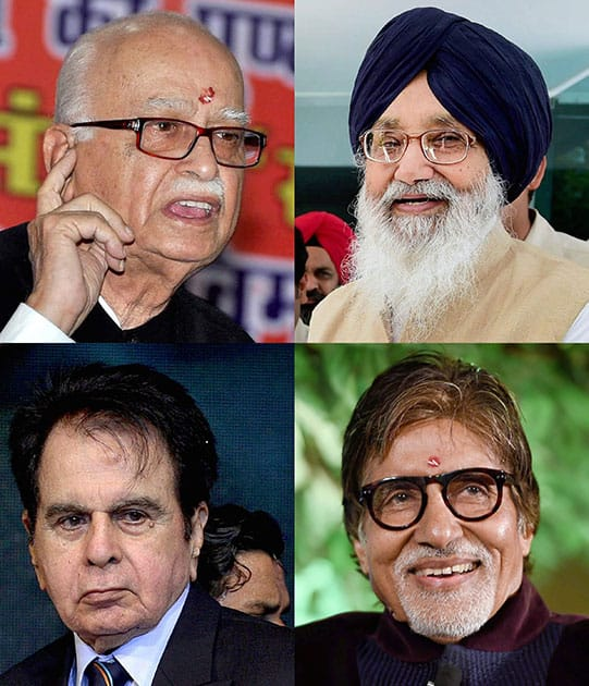 File photos of BJP veteran LK Advani, senior SAD leader Parkash Singh Badal, Bollywood megastar Amitabh Bachchan and legendary actor Dilip Kumar who will be conferred upon the prestigious Padma Vibhushan award as announced by the government.