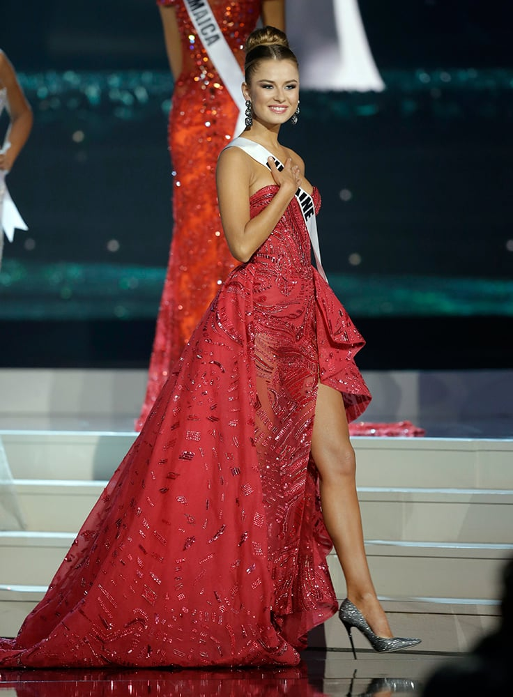 Miss Ukraine Diana Harkusha poses during the Miss Universe pageant in Miami.
